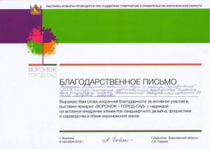Благодарственное письмо от Гордеева